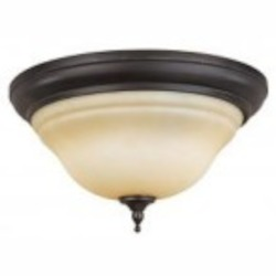 World Imports Two Light Bronze Bowl Flush Mount