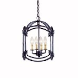 World Imports Four Light Black Outdoor Foyer Hall Fixture
