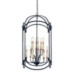 World Imports Twelve Light Black Outdoor Foyer Hall Fixture
