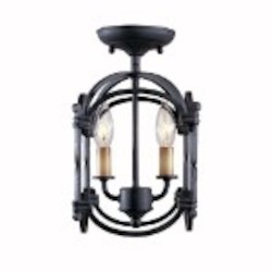 World Imports Two Light Cage Semi-Flush Mount