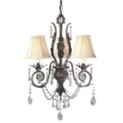World Imports Three Light Bronze Up Chandelier