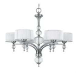 World Imports Six Light Nickel Drum Shade Chandelier