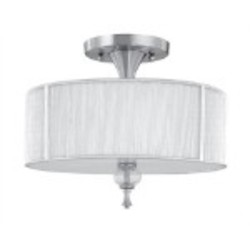 World Imports Three Light Nickel Drum Shade Semi-Flush Mount