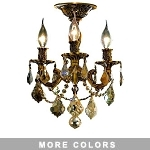 Chateau Design 3-Light 14'' French Gold or Antique Brass Ceiling Mount with European or 30% Lead Crystals SKU# 11220