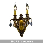Chateau Design 2-Light 10'' French Gold or Antique Brass Wall Sconce with European  or 30% Lead Crystals SKU# 11218