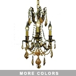 Chateau Design 3-Light 18'' Antique Brass or French Gold Mini Chandelier with European 30% Lead Crystals SKU# 11219