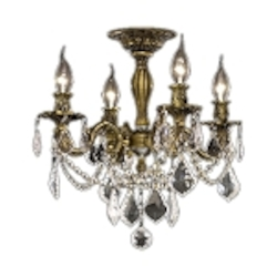 Chateau Design 4-Light 19'' Antique Brass or French Gold Ceiling Mount with European or 30% Lead Crystals SKU# 11222