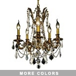 Chateau Design 5-Light 19'' Antique Brass or French Gold Mini Chandelier with European or 30% Lead Crystals SKU# 11223