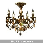 Chateau Design 5-Light 18'' Antique Brass or French Gold Ceiling Mount with European or 30% Lead Crystals SKU# 11224