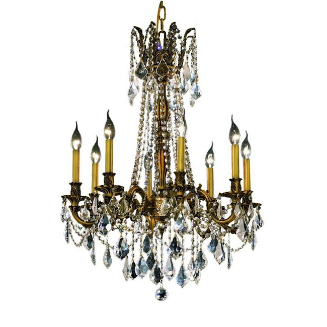 Chateau Design 8-Light 30'' French Gold or Antique Brass Chandelier with European or 30% Lead Crystals SKU# 11226