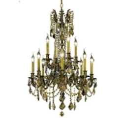 Chateau Design 12-Light 36'' Antique Brass or French Gold Chandelier with European or 30% Lead Crystals SKU# 11229