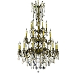 Chateau Design 25-Light 62'' Antique Brass or French Gold Chandelier with European  or 30% Lead Crystals SKU# 11231