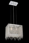Krane Series 2-Light Chrome 14'' Rectangular Pendant Chandelier with European or Swarovski Crystals SKU# 11240