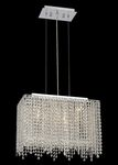 Krane Series 3-Light Chrome 18'' Rectangular Pendant Chandelier with European, Swarovski , or Colored Crystals SKU# 11234