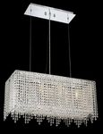 Krane Series 4-Light Chrome 26'' Rectangular Pendant Chandelier with European, Swarovski , or Colored Crystals SKU# 11238