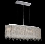 Krane Series 6-Light Chrome 38'' Cylindrical Oval Pendant Chandelier with European, 30% Lead , or Colored 30% Lead Crystals SKU# 11273