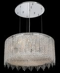 Krane Series 9-Light Chrome 26'' Round Pendant Chandelier with European, 30% Lead , or Colored 30% Lead Crystals SKU# 11269
