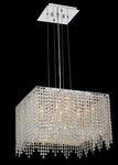 Krane Series 5-Light Chrome 18'' Square Box Pendant Chandelier with European, 30% Lead , or Colored 30% Lead Crystals SKU# 11270