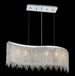 Krane Series 6-Light Chrome 46'' Wave Pendant Chandelier with European, 30% Lead , or Colored 30% Lead Crystals SKU# 11244