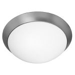 Access Brushed Steel / Opal Cobalt 3 Light Flush Mount Ceiling Fixture
