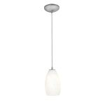 Access One Light Brushed Steel  Whitest  Glass Down Pendant