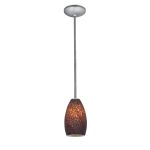Access One Light Brushed Steel Brown Stone  Glass Down Pendant