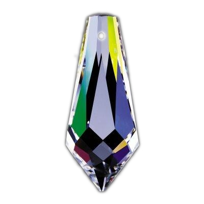 Clear 1.5in. Pointed Prism with 1 Hole European, 30% lead or Swarovski Spectra Crystal  WGL101401 SKU# 11017