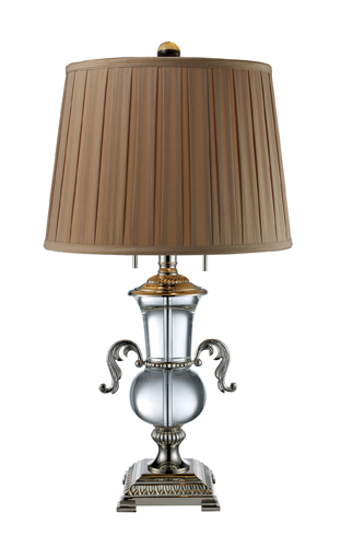 Dimond Two Light Clear Crystal And Polished Nickel Table Lamp