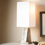 Dimond One Light Chrome Plated Pure White Cotton Styrene Shade Table Lamp