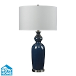 Dimond One Light Bluebrushed Steel Pure White Faux Silk Shade Table Lamp