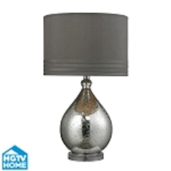 Dimond One Light Mercury Glass Grey Taupe Faux Silk Grey Fabric Liner Shade