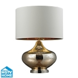 Dimond One Light Gold Mercury Glass Polished Nickel White Faux Silk With Go