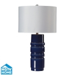 Dimond One Light Sapphire Blue Glaze White Faux Silk Shade Table Lamp