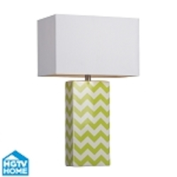 Dimond One Light Citrus Green/White Chevron White Faux Silk Shade Table Lamp