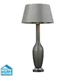 Dimond One Light Grey Smoked Glass With Hand Cutting Grey Woven Fabric Silve