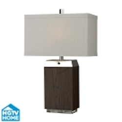 Dimond Two Light Dark Wood Veneer/Acrylic/Silver Plated Off White Textured Li