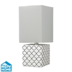 Dimond One Light Gloss White/Black Pure White Faux Silk Shade Table Lamp
