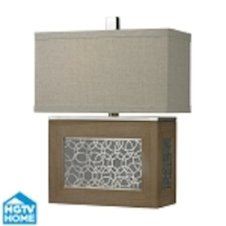 Dimond One Light Bleached Wood/Chrome Accents Sand Textured Linen Shade Table