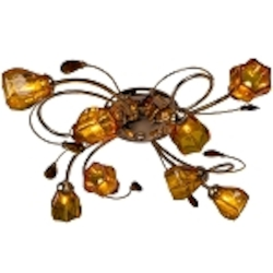 8 light Chrome Semi-Flush Mount Fixture with Amber Crystals and Amber Glass Shades SKU# 2347-126