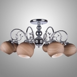 8 Light Chrome Semi Flush Mount Fixture with Tea-Stained  Swirl Glass Shades SKU# 2347-117