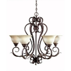 World Imports Six Light Nickel Up Chandelier