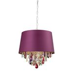 Sterling Industries Purple Drum Pendant Light With Crystal Drops