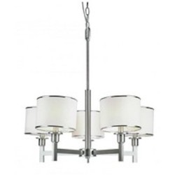 Trans Globe Six Light Brushed Nickel Drum Shade Chandelier