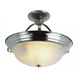 Trans Globe Two Light Brushed Nickel White Frosted Melon Glass Bowl Semi-Flush Mo