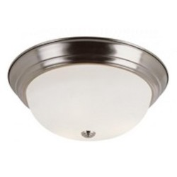 Trans Globe Three Light Brushed Nickel White Frost Glass Bowl Flush Mount