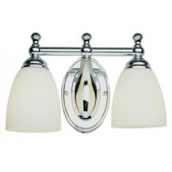 Trans Globe Two Light Brushed Nickel White Opal Glass Vanity