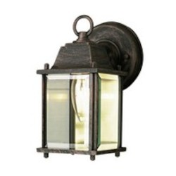 Trans Globe One Light Rust Clear Beveled Glass Wall Lantern