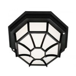 Trans Globe One Light Black Frosted Spider Web Octagon Glass Outdoor Flush Mount