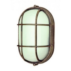 Trans Globe One Light Rust Frosted Oval Sunburst Ribbing Glass Marine Light