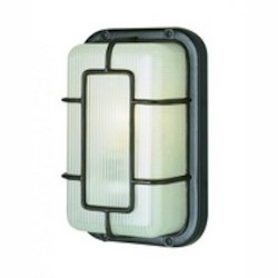 Trans Globe One Light Black Frosted Polycarbonate Rectangle Ribbed Glass Marine